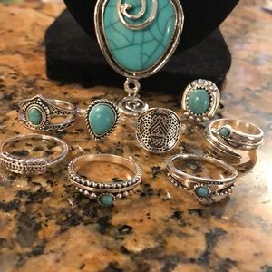 Jewelry - LAST SET! 8pc Bohemian Ring Set all sz's, Ring Set